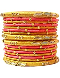 Blue Jays Hub Silk Thread Bangle Set Of 16,pink And Gold Color, Multi Color For Women/girls