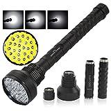 Sidiou Group Ultrahelle 22000lm 24 x Cree T6 5 Modi LED Taschenlampe Jagd Outdoor Exploration Taschenlampe Taschenlampe Lampe für 26650/18650 Akku