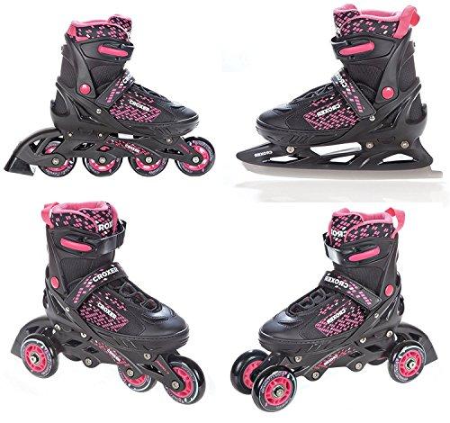 4in1 Inlineskates/Triskates/Rollschuhe/Schlittschuhe Croxer Pearl Black/Pink verstellbar Größe: 40-43 (24,5cm-27cm)