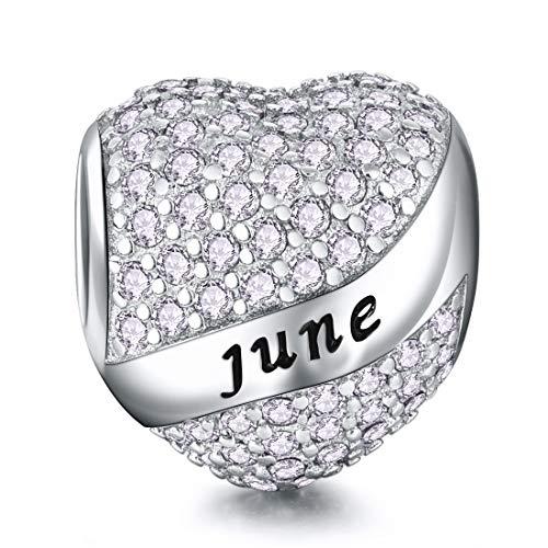 Juni Geburtsstein Bead Charms Herz für Damen 925 Sterling Silber zum Geburtstag Charme-Anhänger für Armband und Halskette