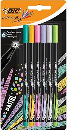 BIC Intensity - Pack de 6 rotuladores de punta fina, color Pastel