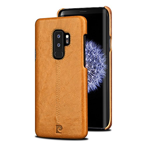 Galaxy S9 Plus Hülle, Pierre Cardin Original Leder Prämie Jahrgang Klassisch Geschäft Stil Hart Zurück Abdeckung Fallen Schutz zum Männer zum Samsung Galaxy S9 Plus - Braun