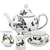 Christian Lacroix - Juego de té (15 piezas, porcelana), diseño de mariposas