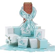 100 × Cajas para Guardar Caramelos, Galletas Pequeñas Regalo, Detalle, Recuerdo, Decoración, Favor para Invitados de Boda, Fiesta, Bautismo, Comunión, Graduación etc. (Azul)