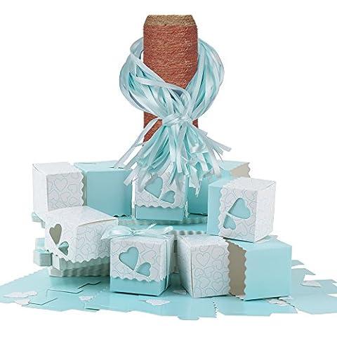 100 × Cajas Cubo de Papel Portaconfetti con Decoración de Corazón Hueco Incluyendo la Cinta, para Guardar Caramelos, Galletas Pequeñas en Ocasiones de Boda, Fiesta, Bautismo, Graduación