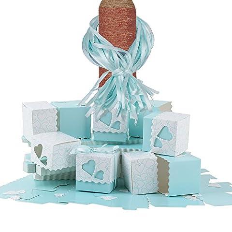 ❤100pcs Boîte à Dragées Coeurs avec Couvercle Ruban pour Mariage Baptême