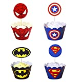 96 Pcs Super-héros Cupcake Toppers Wrappers Toppers Cake Table Décorations De Fête...