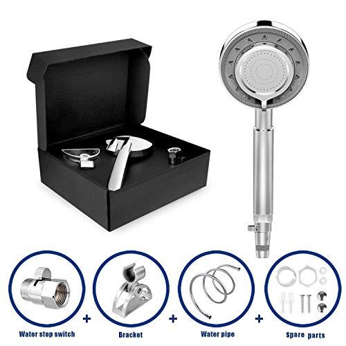 Duschkopf, Handbrause mit PVC- Schlauch, Universal Badezimmer Handbrause Halterung mit 3 verschiedenen Strahlarten -Massage, Regnet, Misch Modus, Chrom -