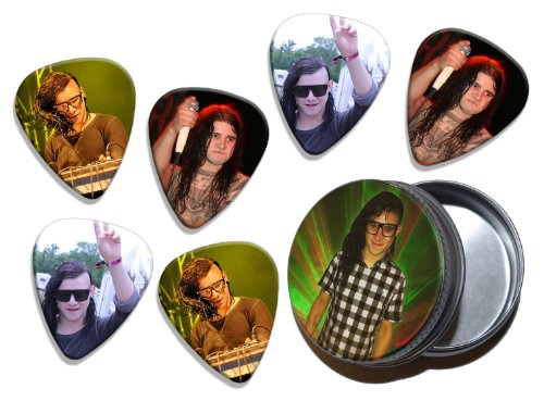 Skrillex (WK) 6 X Live Performance Gitarre Plektrums Picks in Tin