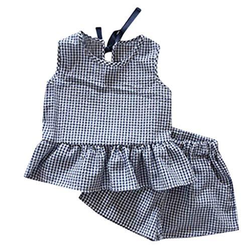 JUTOO 2 Stücke Set Kleinkind Kinder Baby Mädchen Outfits Kleidung Plaid Weste T-Shirt + Shorts Set (Blau,9/110)