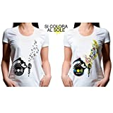 Shirt Dass Sich Colora Sonne Damen Größe XL c-Shirt # lica1Shirt mit Druck Bunt Farbwechsel