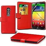 ( Red ) LG G2 Ledergeldbörse Flip Hülle Tasche Mit-Schirm-Schutz-Schutz By i-Tronixs