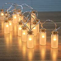 Dailyart Retro/Vintage Glass Jar LED Fairy Lights Battery String Lights with Warm White 20 LEDs, 8 Modes, Great for Bedroom Wedding Party Christmas Patio Garden Decoration