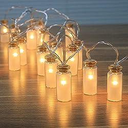 8 Modos de vidrio Jar de la vendimia Luz de Navidad LED con 20 blanco cálido