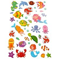 Small Sealife Mermaid & Octopus Stickers Childrens Labels for Kids Craft