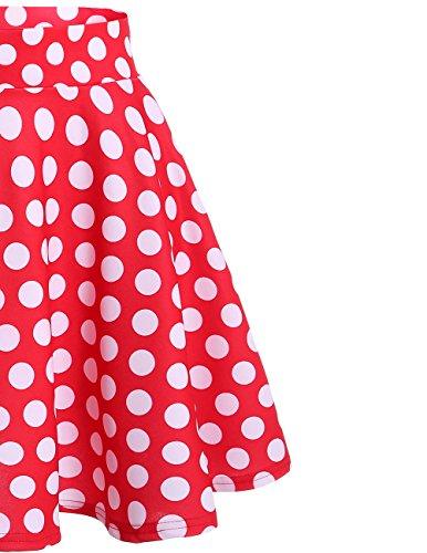 Bridesmay Donna Gonna Vita Alta Casual Solida Colore Mini Gonna Red White Dot
