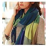 HAZVPO Weibliche Wolle Warme Winter Dicke Lange Schals Schal Wickeln Platz Plaid Elegante Decke Schal -