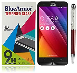 BlueArmor HD Clear Tempered Glass Screen Guard Protector for Asus Zenfone 2 Laser ZE550KL 5.5 INCH(Pack of One) + Solitaire Crystals Touch Stylus