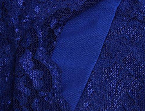 Balleay Femmes Formal Robe Dentelle Cap Sleeve Personnalisé Porter pour Travailler Entreprise Bal de Promo Décontractée Cocktail Demoiselle d'honneur Robe de Mariée BA3359 Bleu