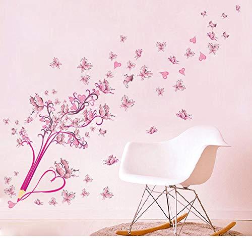 Suwhao 3D Pvc Diy Rosa Blumen Schmetterling Und Bleistift Wandaufkleber Wohnkultur Für Wohnzimmer Schlafzimmer Vinyl Poster Weihnachtsgeschenk -