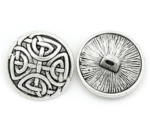 10pieza botones de metal, antiksilber, Keltic-Patrón, diámetro aprox. 17Mm, orificios tamaño 2mm
