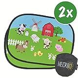 HECKBO® - 2x Selbsthaftende Auto-Sonnenblende für Mädchen, Kinder & Baby - ohne Saugnäpfe - Autosonnenschutz - Motiv: Bauernhof mit Tieren - 44x36cm - Sonnenschutz Autosonnenblende inkl. Tasche