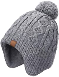 AHAHA Kids Winter Earflap Beanie Hat Pompom Knitted Hats for Boys and Girls 10b4ab94047d