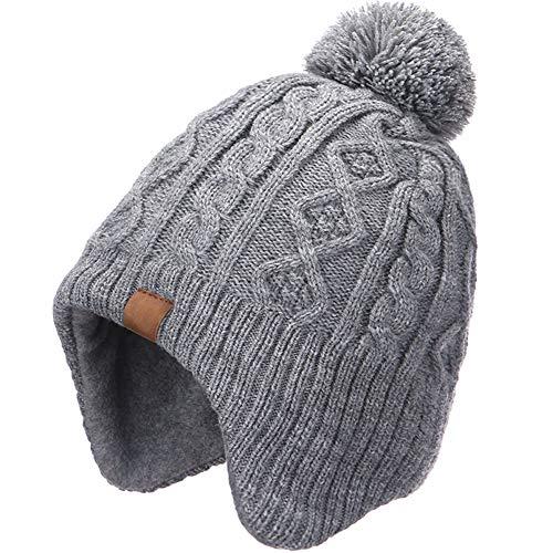 f1235a020 AHAHA Sombreros de Punto Pompom para niños Sombreros de Invierno Earflap