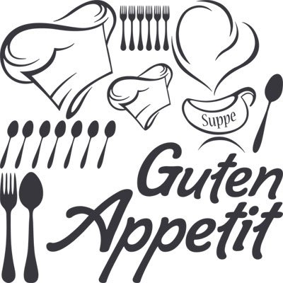 Preisvergleich Produktbild Wandtattoo Set Küche Spruch Schriftzug Guten Appetit mit Kochmütze (57x57cm//073 dunkelgrau)