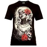 Classic Wear Rock Eagle International Santa Muerte with White Hair Herren T-Shirt Schwarz Gr. S Glow in The Dark