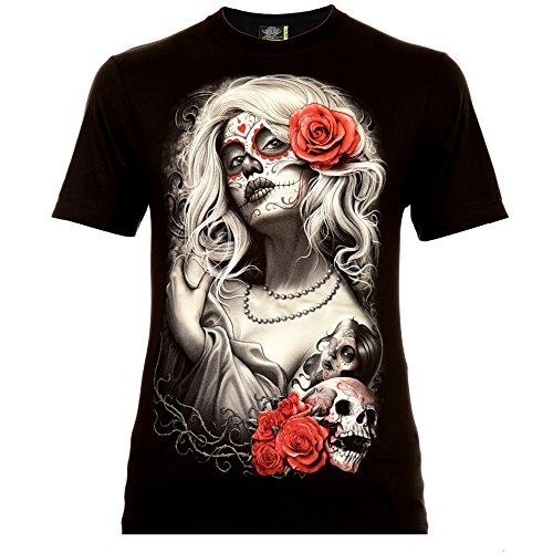 Santa Muerte with White Hair Herren T-Shirt Schwarz Gr. 2XL Glow in The Dark (Shirts In The Dark Halloween-glow)