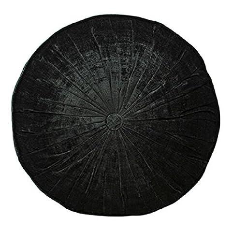 Paoletti Wellesley Chenille Velvet Woven Filled Round Cushion, Noir, 40 Cm