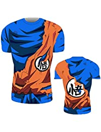 Buberryi Camiseta de Dragon Ball Anime Clocs Play, 85% Poliéster Fitness Run Mangas Cortas