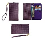 DFV mobile - Cover Premium Case with Design Pearl Grid Texture with Card Slots & Lanyard for => LG SPIRIT > Violet