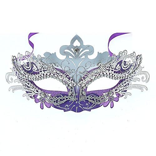 OUREIDOO Venezianische Maske, Damen Maskerade Maske Schmetterling Form Metall Laser Cut Metall Venezianischen Karnevalsmaske Maskerade Maske. (Lila with Crystal)