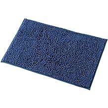 Mayshine 50x80 cm Azul Oscuro Alfombra antideslizante para Baño Chenille Tepete lavable en la Lavadora Alfombrilla antideslizante Microfibras suaves Agua absorbente