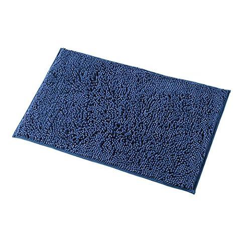 Mayshine 50x80 cm Bleu Foncé Gris Tapis d'Antidérapant de la Salle de Bain Tapis Lavable en Machine de la Salle de Bain Avec une Propriété d'Absorption d'Eau Et de Microfibre Et une Touche Souple