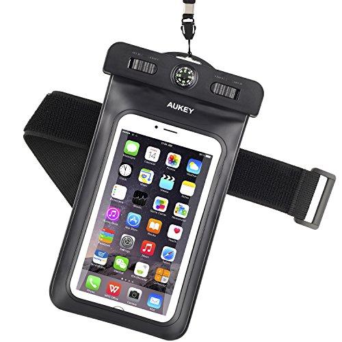 """AUKEY Custodia Impermeabile Universale per Telefono Cellulare con Bussola e Fascia Sportiva da Braccio, Waterproof Cover per iPhone 7/ 7 Plus/ 6s / 6s plus / 6 / 6 plus / 5s / 5c / 5, Samsung s6 / s6 edge / s5 / s4, ed Smartphone Uguale o Inferiore a 6"""" ecc"""