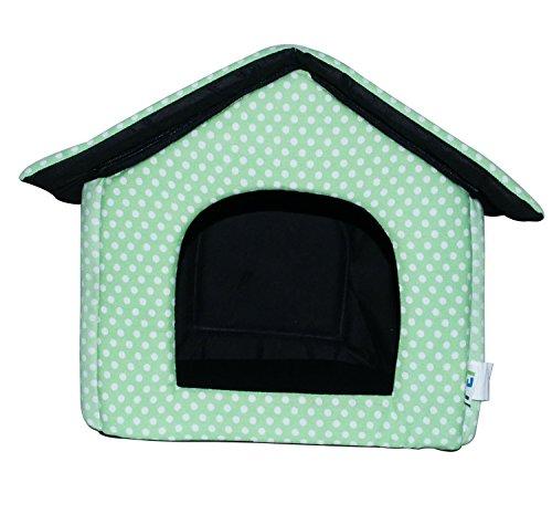 LOVE PET - Caseta de Tela Plegable/ Cuna Perro/ Habitación Portátil/ Nido Mascota para Perros, Gatos con forma de casa (motivo lunares verde, S)