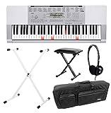 Casio LK-280 Leuchttasten Keyboard Deluxe SET inkl. Kopfhörer, Ständer, Bank und Tasche