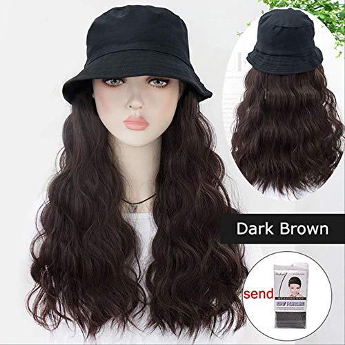 YCHBUBBLE Langes lockiges Haar Hut Perücke einteilig natürlichen Stil atmungsaktiv synthetische Hochtemperaturfaser Perücke cosplay Rollenspiel dress up12
