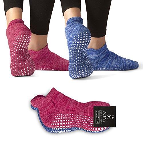 LA Active Grip Socken - 2 Paar - Yoga Pilates Barre Ballet Abs Noppen Rutschfeste (Blau und Rot)