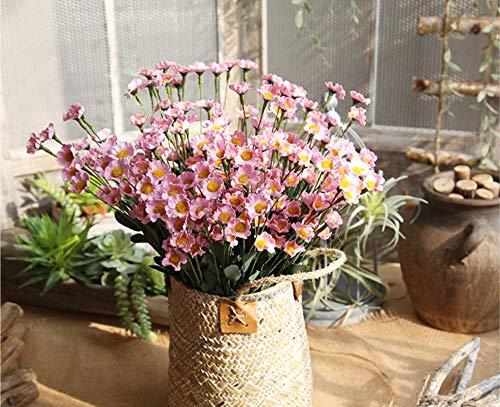 Künstliche Blumen, Gelbe Gänseblümchen Für Halloween Home Hochzeits-Party-Dekor, 5 * 15 Blumenköpfe (Farbe Kann Gemischt Und Abgestimmt Werden),Pink