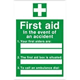 First Aid 'In the event of an accident' (Blank Spaces For Marker Pen) Sign 200x300 Self Adhesive