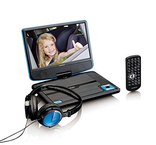 Lenco tragbarer DVD-Player DVP-910 9 Zoll (22,5 cm) mit drehbarem Display und Integriertem Akku (USB, AV-Ausgang), Netzadapter, Kopfhörer, blau (Zoll Tragbarer 9 Dvd-player)
