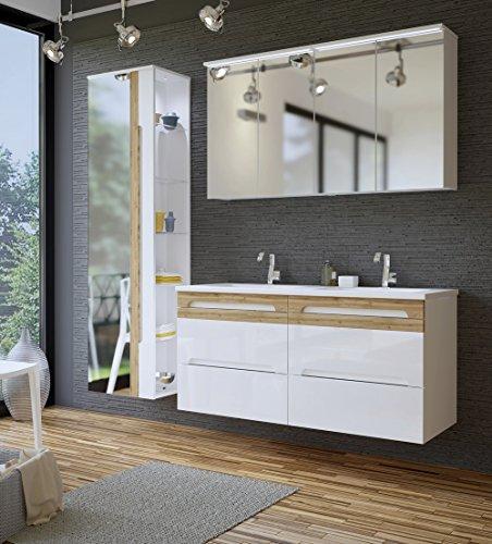 Holz-doppel-waschtisch (Galaxy Badmöbel-Set/Badmöbelanlage/Komplettbad 6-teilig in Weiß Hochglanz/Blenden Holzdekor, Doppel-Waschtisch 120 cm, LED-Beleuchtung)