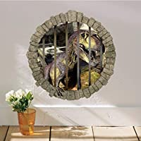 BRILLINT.YY Nursery Wall Sticker World Park Dinosaurs For Kids Rooms Boy Room Decoration 3D Window Effect Wall Decals Poster Wall Paper Mural