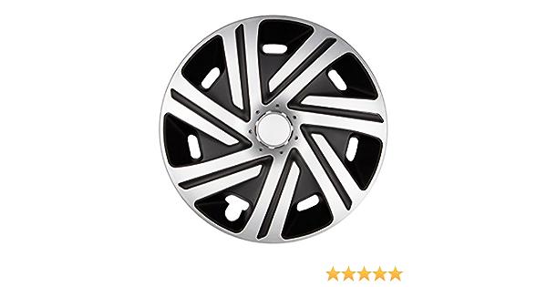 Premium Radkappen Radzierblenden Radblenden Modell Cyrkon 4er Set Farbe Silber Schwarz Felgendurchmesser 15 Zoll Auto