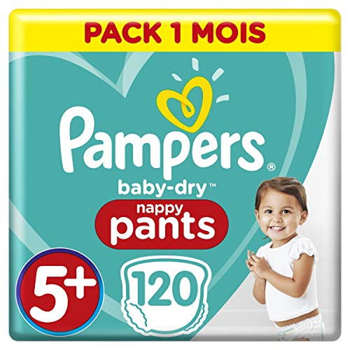 Pampers Baby-Dry Pants T5+, 120 Couches-Culottes, Faciles À Enfiler, Pack 1 Mois