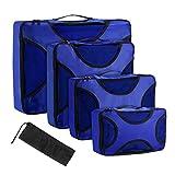 OMORC Organisateur de Voyage Rangement de Valise pour Voyage 5 Ensembles , 4 Tailles Différentes (XL / L / M / S) Organisateur de Bagage Sac d'Emballage Organisateur de Valise avec Sac de Blanchisserie Durable - Bleu